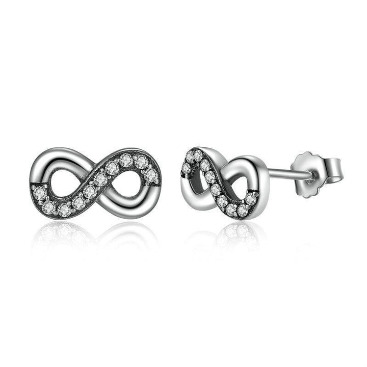 CNS Deals Women Earrings High Quality 925 Sterling Silver Infinity Love Knot Stud Earrings