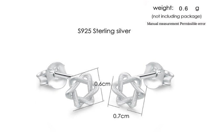 CNS Deals Women Earrings Little Hexagram Stars Sterling Silver Stud Earrings