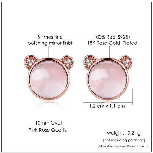 CNS Deals Women Earrings Lovely Bear Ears 18K Rose Gold Plated Stud Earrings