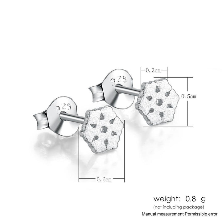 CNS Deals Women Earrings Matte Snowflake Shaped White Gold Plated Stud Earrings