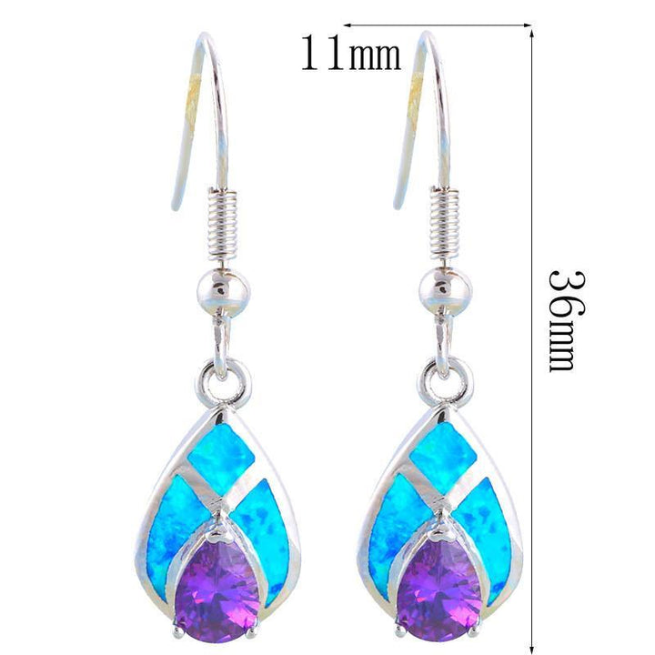 CNS Deals Women Earrings Mystic Amethyst Water Drop Silver Plated Fashion Drop Earrings V02