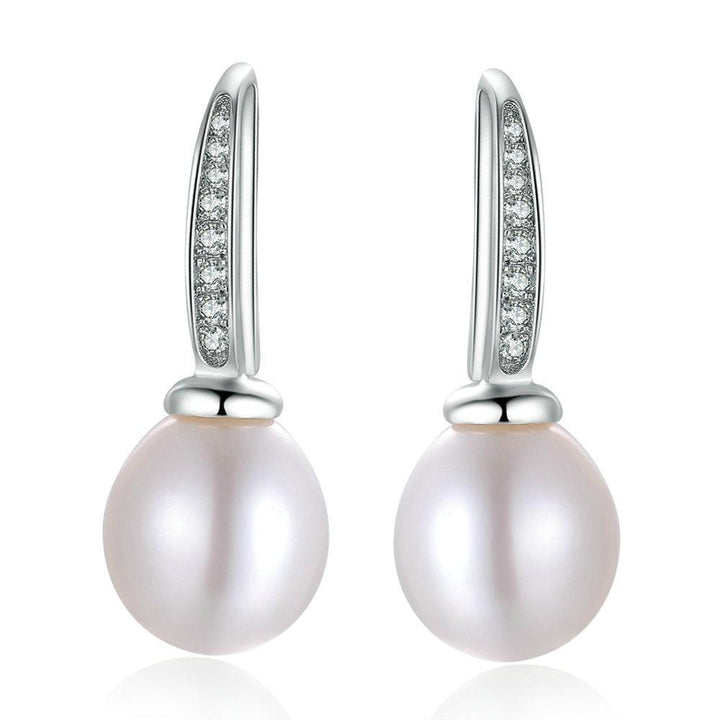 CNS Deals Women Earrings Natural Freshwater Pearl 925 Sterling Silver Drop Earrings