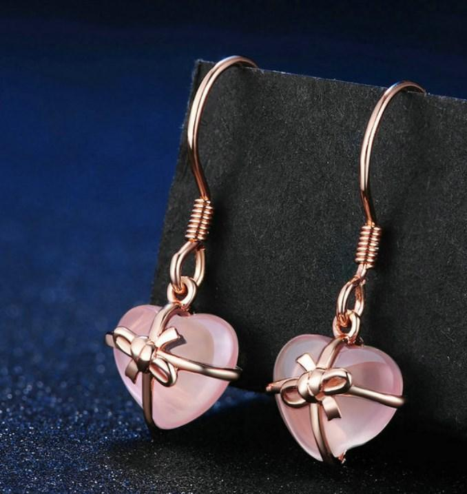 CNS Deals Women Earrings Natural Heart Pink Rose Quartz Rose Gold Plated Drop Earrings