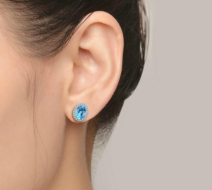 CNS Deals Women Earrings Natural Oval Blue Topaz 925 Sterling Silver Stud Earrings