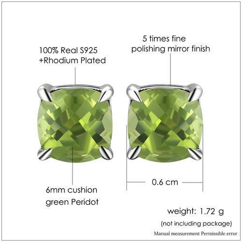 CNS Deals Women Earrings Natural Peridot 925 Sterling Silver Simple Stud Earrings