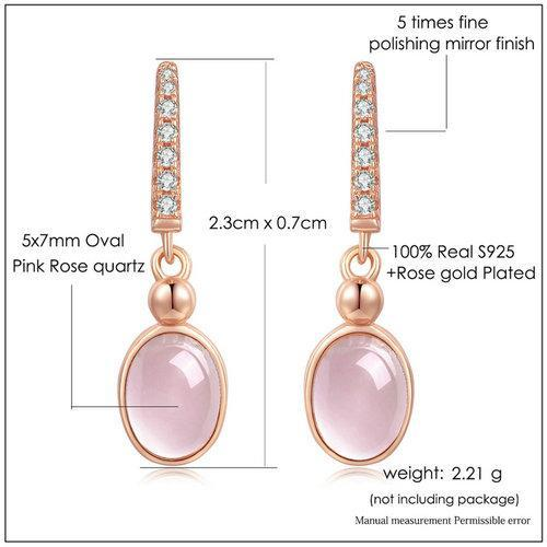 CNS Deals Women Earrings Natural Pink Rose Quartz Rose Gold Plated Drop Earrings