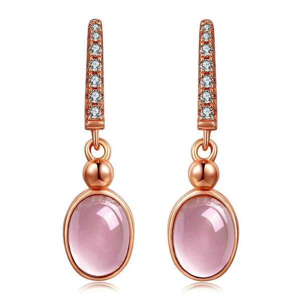 Natural Pink Rose Quartz Rose Gold Plated Drop Earrings