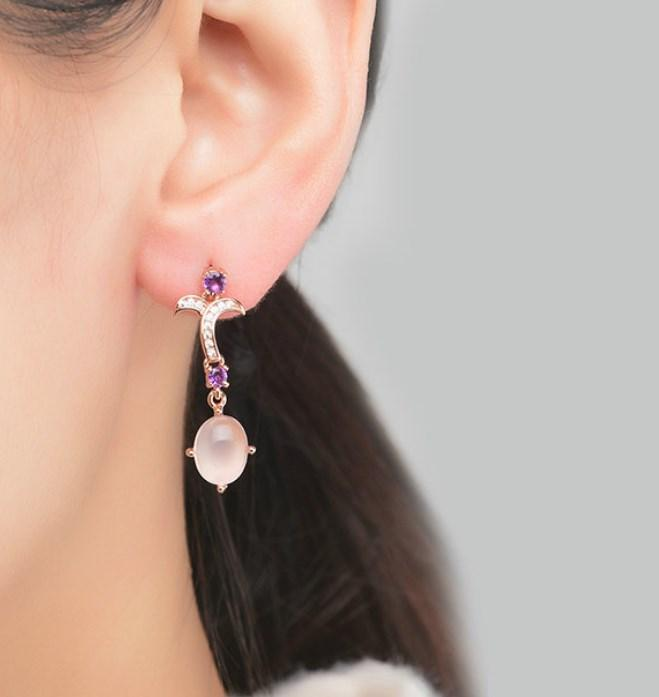 CNS Deals Women Earrings Natural Rose Quartz Rose Gold Plated Drop Earrings