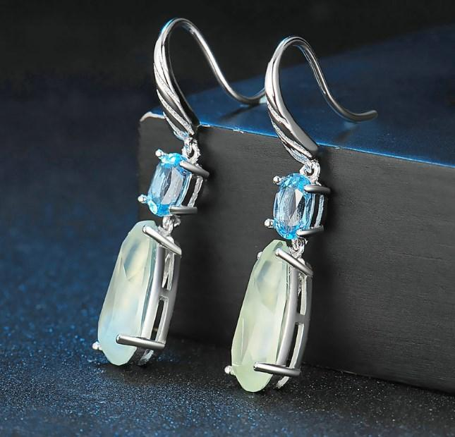 CNS Deals Women Earrings Natural Teardrop Prehnite and  Blue Topaz Sterling Silver Drop Earrings