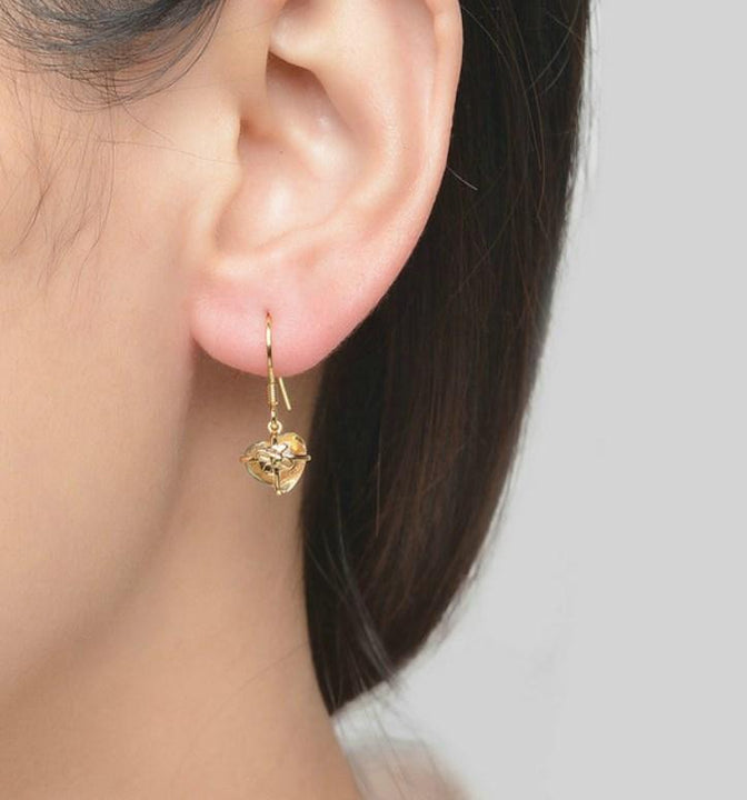 CNS Deals Women Earrings Romantic Heart Natural Citrine 14K Yellow Gold Plated Drop Earrings