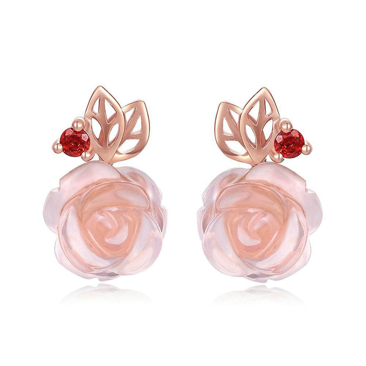 CNS Deals Women Earrings Rose Flower Natural Pink Rose Quartz Rose Gold Plated Stud Earrings