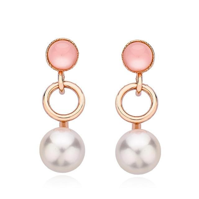 CNS Deals Women Earrings Rose Gold Color Stunning Dangling Pearl Circle Rose Gold Plated Drop Earrings V02