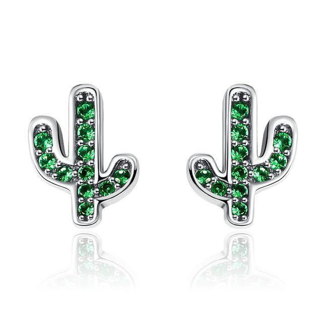 CNS Deals Women Earrings SCE097 925 Sterling Silver White & Green Cactus Stud Earrings