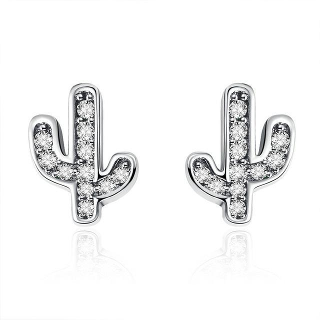 CNS Deals Women Earrings SCE286 925 Sterling Silver White & Green Cactus Stud Earrings