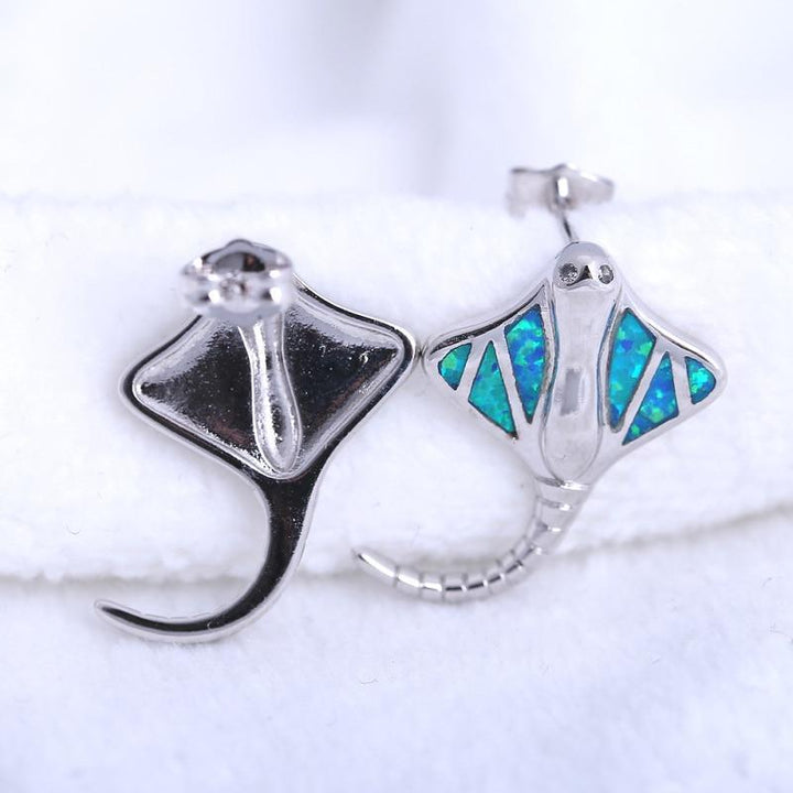 CNS Deals Women Earrings Shiny Cute Stingray Fish Silver Plated Women Fashion Stud Earrings R01