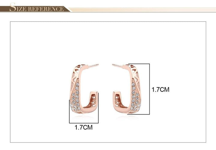CNS Deals Women Earrings Silver Color Dazzling CZ Hollow Geometric Rose Gold Plated Stud Earrings V02