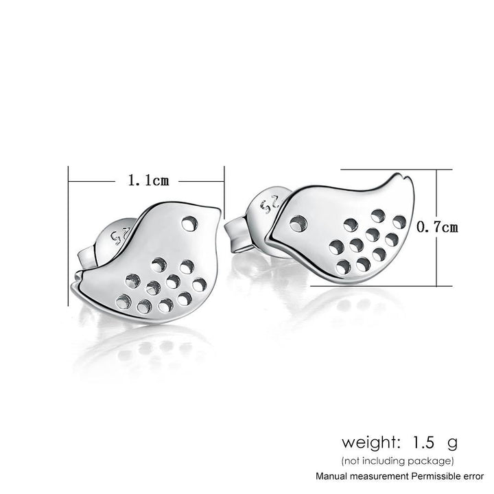 CNS Deals Women Earrings Singing Birds Shaped White Gold Plated Stud Earrings