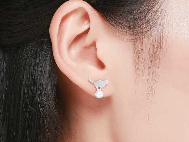 CNS Deals Women Earrings Sterling Silver Naughty Cat Play Ball Drop Earrings