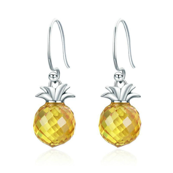 Summer Yellow Crystal Pineapple 925 Sterling Silver Drop Earrings B01