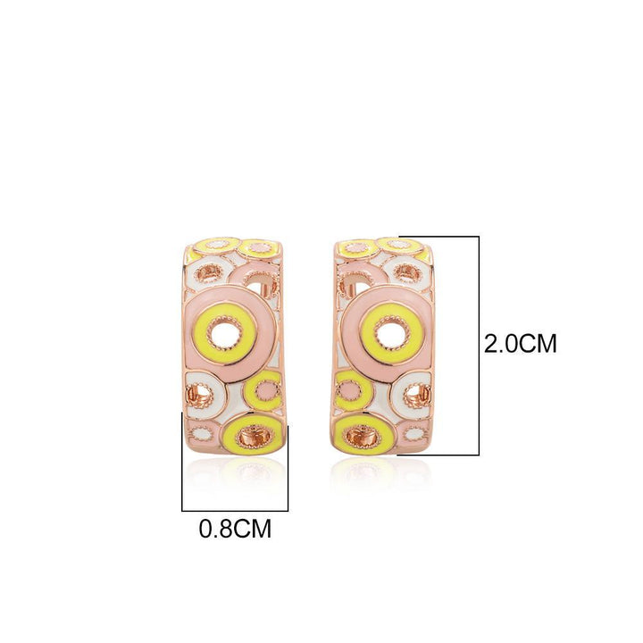 CNS Deals Women Earrings T104908E-002 Colorful Hollow Circle Gold Plated Women Fashion Stud Earrings V02