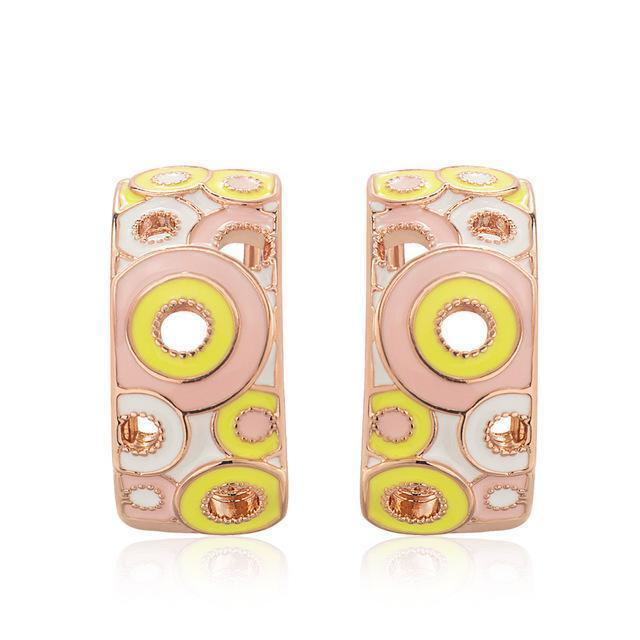 CNS Deals Women Earrings T104908E-003 Colorful Hollow Circle Gold Plated Women Fashion Stud Earrings V02