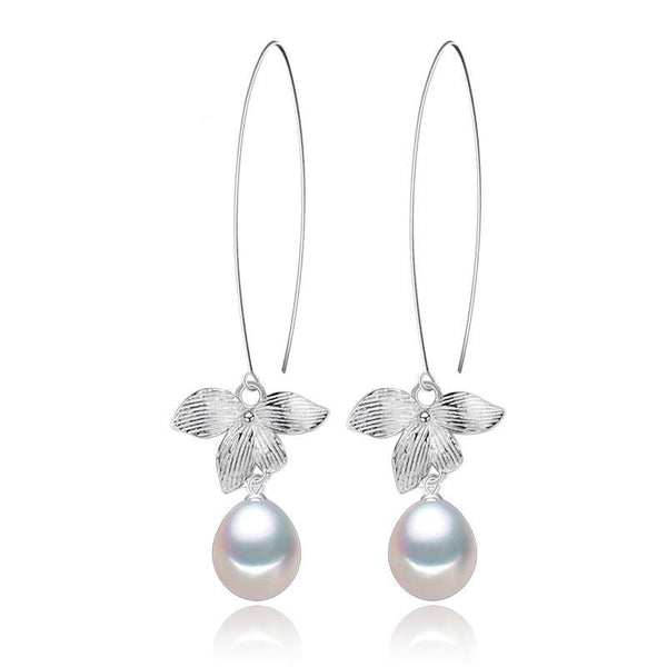 The Fancy Leaf Natural Freshwater Pearl 925 Sterling Silver Earrings F01