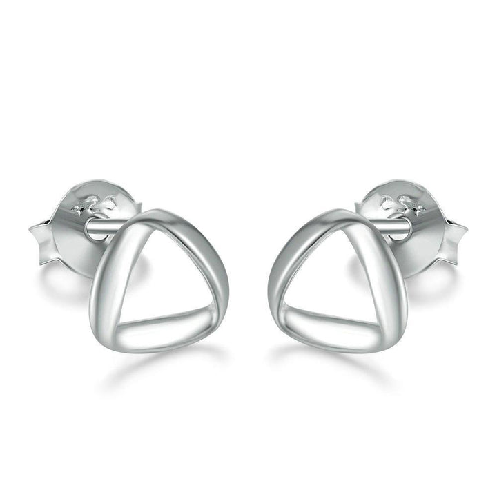 CNS Deals Women Earrings Triangle Twist 925 Sterling Silver Stud Earrings