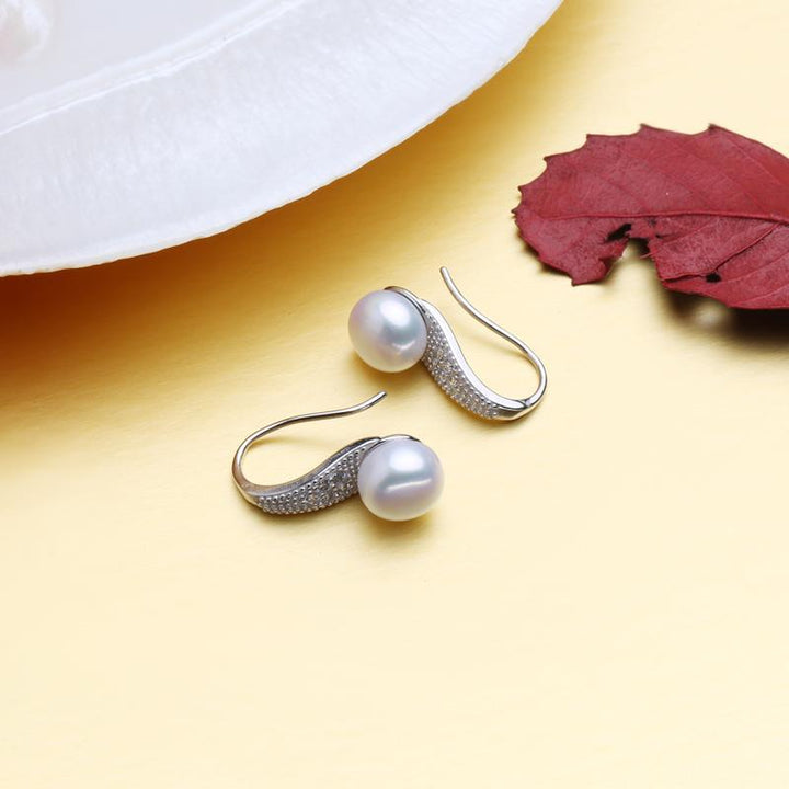 CNS Deals Women Earrings Vintage Ethnic Natural Freshwater Pearl 925 Sterling Silver Earrings