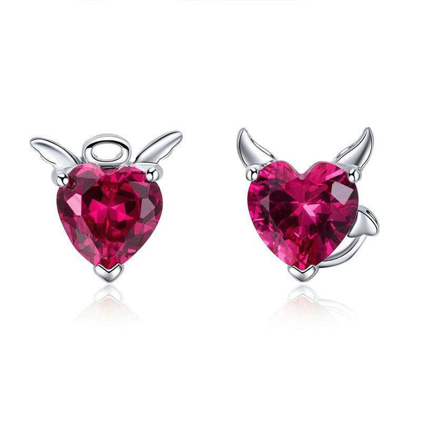 Vivid Pink CZ Heart Angle & Devil 925 Sterling Silver Stud Earrings B01