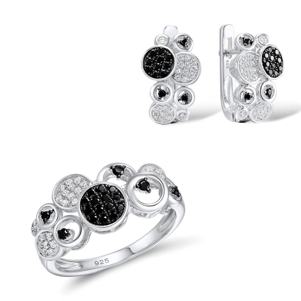 Black & White Circle Disc Ball Rhodium Tone Ring Earrings Set S01