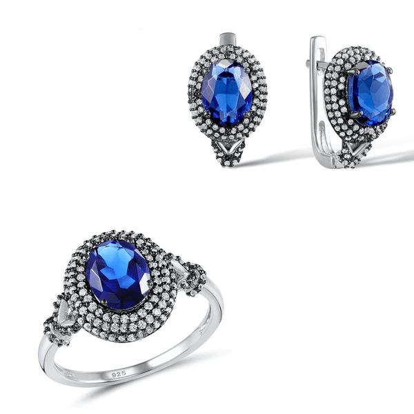 Blue Mirror Gemstone Frame 925 Sterling Silver Ring Earrings Set S01