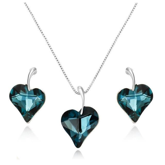 CNS Deals Women Jewelry Set Blue Sparkling Asymmetric Crystal Heart Rose Gold Plated Jewelry Set V02