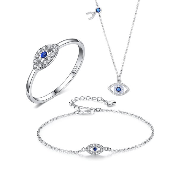 Blue & White CZ Evil Eye 925 Sterling Silver Fashion Jewelry Set K01