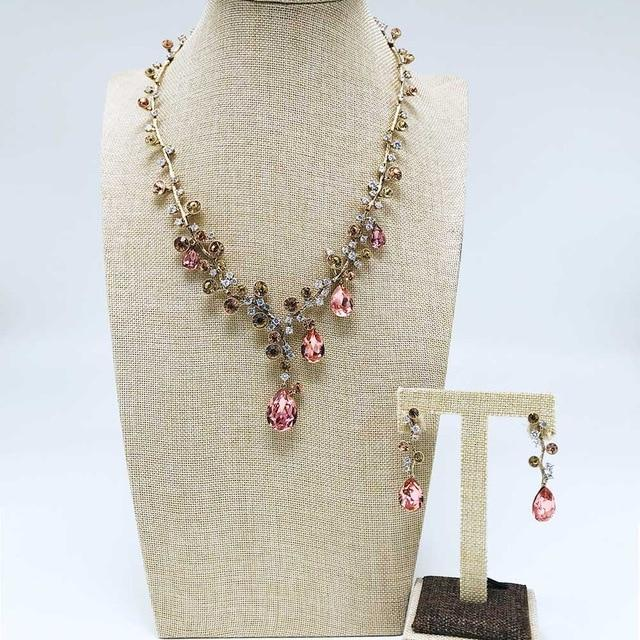 CNS Deals Women Jewelry Set Charming Crystal Water Drop Tropical Flower Trendy Jewelry Set V02