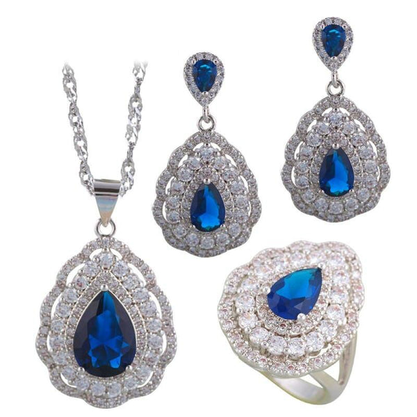 Charming Dewdrop Pear Cut Navy Blue CZ Silver Tone Jewelry Set R01