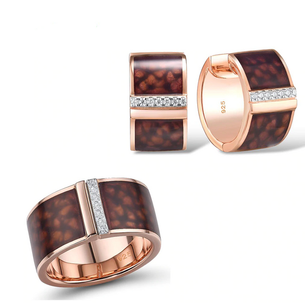 Exquisite Brown Enamel Sky 18K Gold Tone Ring Earrings Set S01