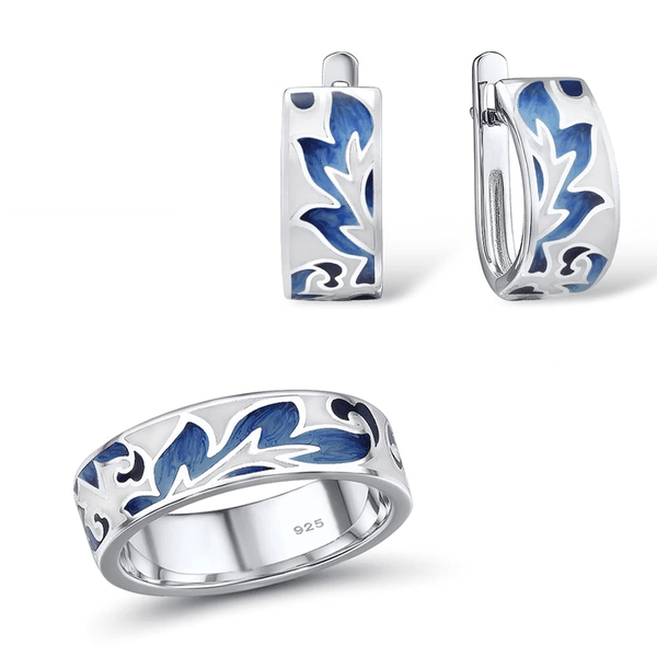 Exquisite Enamel Blue Fire Leaves Rhodium Tone Ring Earrings Set S01