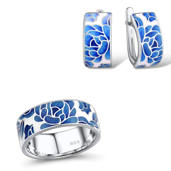Exquisite Enamel Blue Peony Flower Rhodium Tone Ring Earrings Set S01