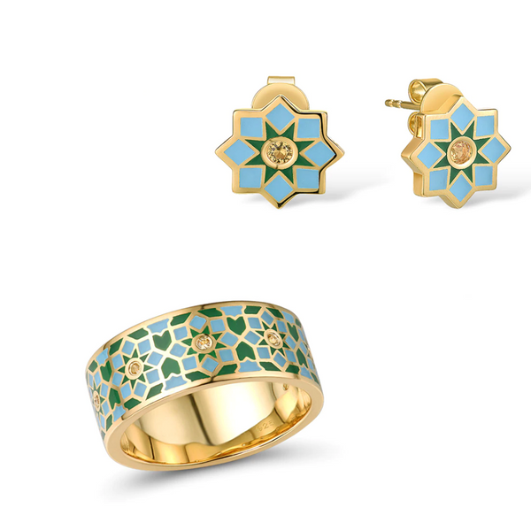 Fantastic Enamel Geometric Flower 14K Gold Tone Ring Earrings Set S01