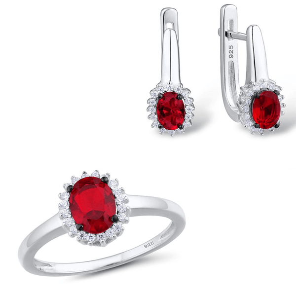 Glamorous Red Oval Sunflower Rhodium Tone Ring Earrings Set S01