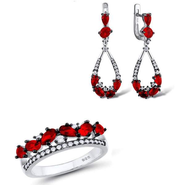 Glamorous Red Pear Oval Stones Crown Silver Ring Earrings Set S01