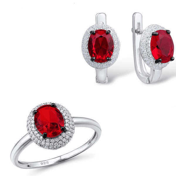 Glamorous Red Queen Crown S925 Silver Ring Earrings Set S01