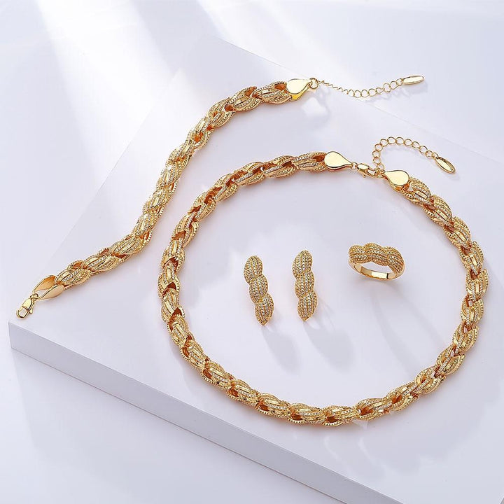 CNS Deals Women Jewelry Set Gold Color Together Forever Twisted Love Gold Plated Fashion Jewelry Set V02