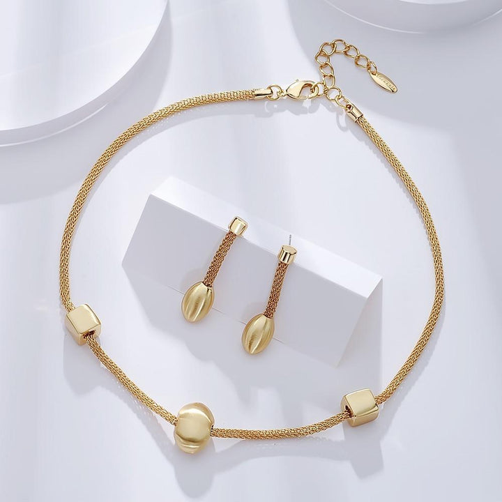 CNS Deals Women Jewelry Set Gold Plated Elegant Geometric Melody Gold Plated Necklace Earrings Set V02