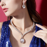 CNS Deals Women Jewelry Set Luxury Large Crystal Wave Pave Rose Gold Plated Jewelry Set V02