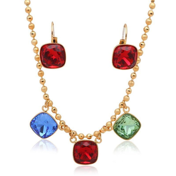 Stunning Colorful Square Crystal Halo Yellow Gold Tone Jewelry Set R01