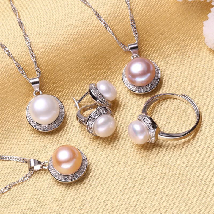 CNS Deals Women Jewelry Set Natural Freshwater Pearl Silver Jewelry Set Ring Necklace Earrings
