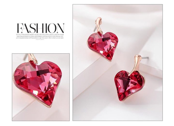 CNS Deals Women Jewelry Set Red Sparkling Asymmetric Crystal Heart Rose Gold Plated Jewelry Set V02