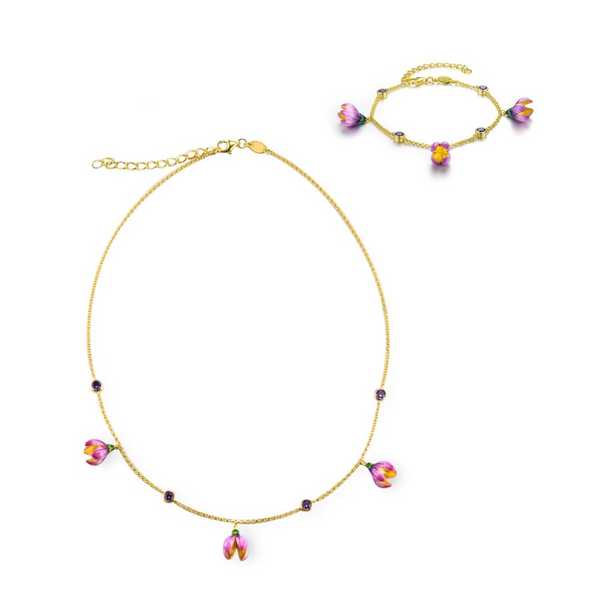 Spring Budding Pink Sakura Flower 14K Yellow Gold Tone Jewelry Set S01