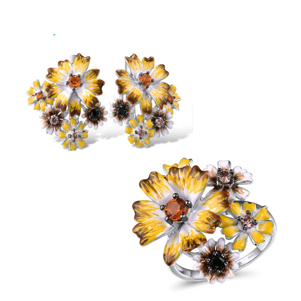 Spring Yellow Flower Garden Rhodium Tone Ring Earrings Set S01